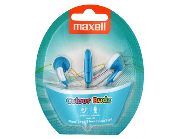 Earphones Maxell Colour Budz + Microphone Blue