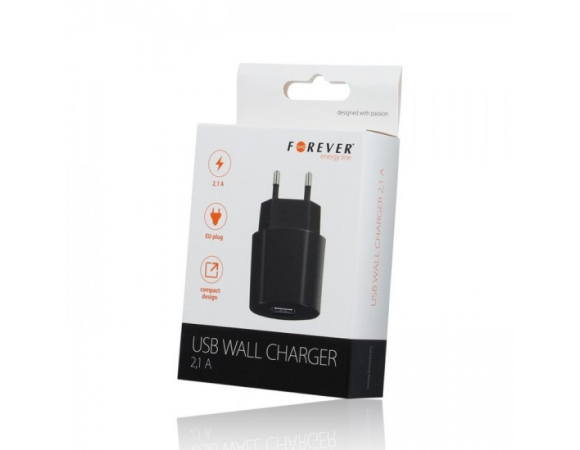 Wall Charger Forever USB 2,1 A Black