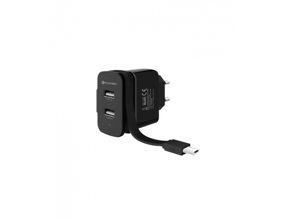 Wall Charger Platinet 2xUSB + ROLLING CABLE microUSB 3.4A