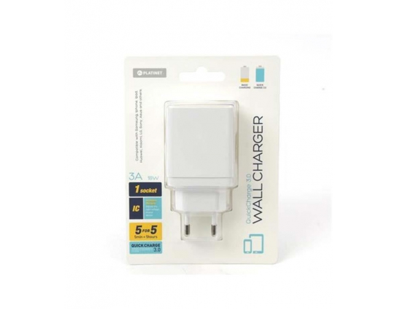 Wall Charger PLATINET 1xUSB 3A Quick Charge 3.0 18W